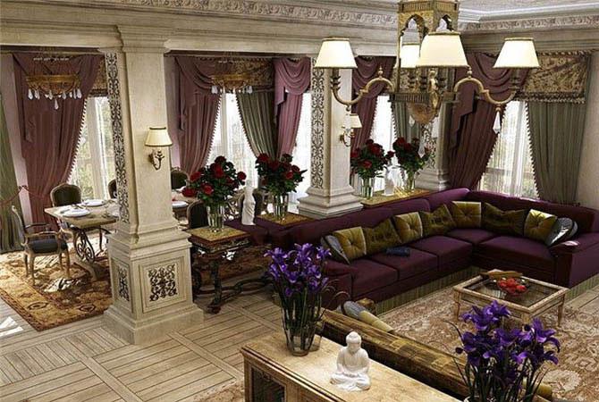 дизайн комнат с колонами