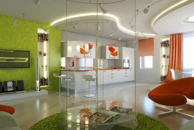 дизайн и интерьер модные квартиры гостинная