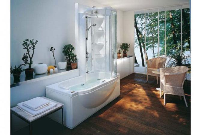 дизайн ванной комнаты в жетро-синем стиле