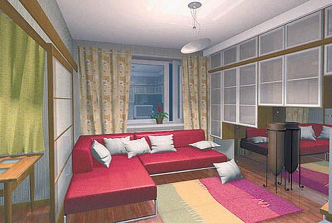 дизайн комнаты и кухни
