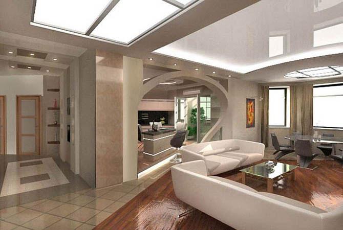 дизайн квартир многоуровневые потолки